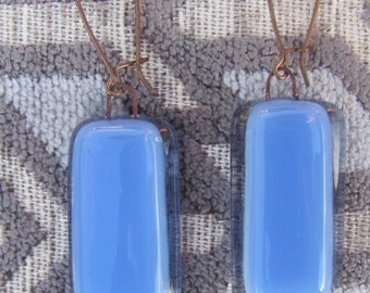 Sky blue with clear color block glass dangly earrings