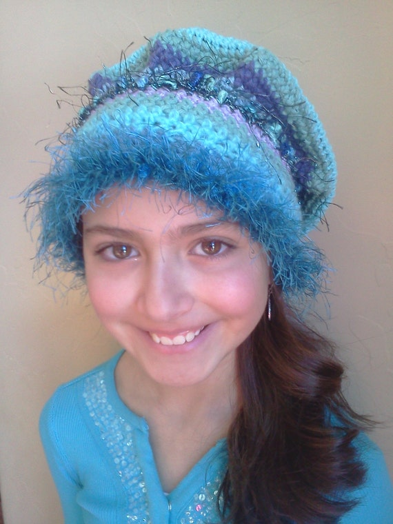 ... crocheted fuzzy turquoise hat for older child or woman, or cancer