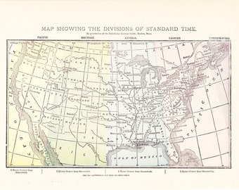 1887 Map World Time Zones - Vintage Antique Map Great for Framing 100 Years Old