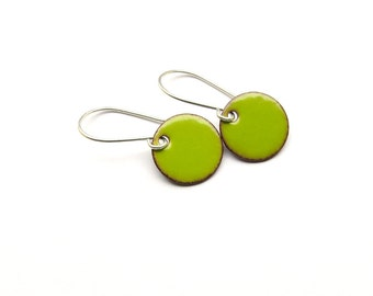 Small Green Earrings - Lime Green Earrings - Small Dangle Earrings - Green Enamel Earrings - Enamel on Copper / Candies