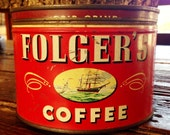CANDLE Unique Hand-Poured Soy Wax Candle in Vintage FOLGERS primative Coffee Can GREAT Gift Antique Collectable farmhouse Tin