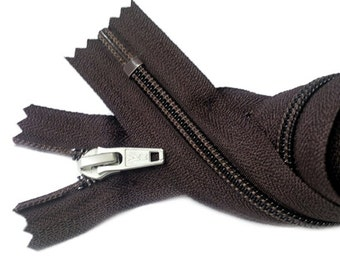 """18"""" Nylon Coil Zipper YKK #5 with Aluminum Slider - Closed Bottom Color Sept. Brown 570 by each"""