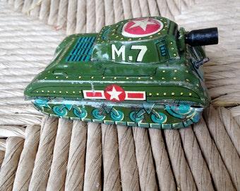 Vintage Cragstan Baby Green Tin Toy Tank M7