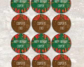 Outdoorsman Cupcake Toppers (set of 12) PRINT & SHIP | Paper and Cake