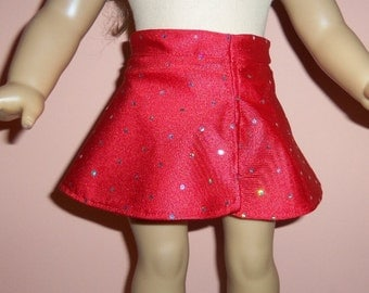 18 inch Doll Skirt, Sparkling Red Dancewear, Skater Skirt, American Made, Girl Doll Clothes