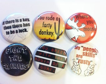 Supernatural quotes set of 6 one inch magnets - great for fridge, locker, whiteboard
