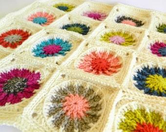 SALE Pure WOOL Blanket and Hat Set Crochet Bright Newborn Flowers Interchangable Mums Girl Summer Fall