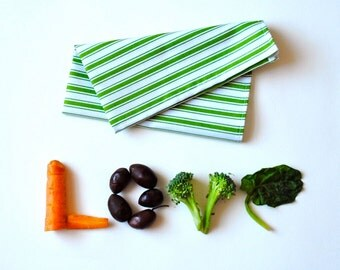 Cloth Napkins SET of 4 - Green Striped Table Napkins in Vintage Cotton - Eco Friendly Cloth Napkins - Food Napkins (Ready to Ship)