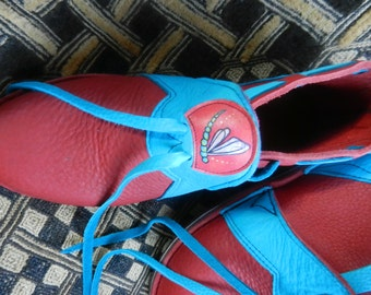 "Leather Handmade Shoes - turquoise deerskin on red bullhide, - ""NO SHOES"" Vibram Sole  - Custom Made or stock sizes"