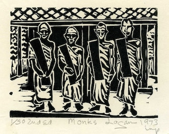 Monks, Miniature lino print of Thailand, limited edition, printed and signed in pencil by the artist