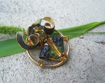 Vintage Jewelry Enamel and Crystal Brooch made in Austria Freeform Art Nouveau design, Art Jewelry