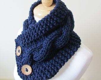"""Chunky Cable Neckwarmer Knit Thick Navy Blue Scarf Wool Blend 6"""" x 25"""" Coconut Shell Buttons - Ready to Ship - Direct Checkout"""