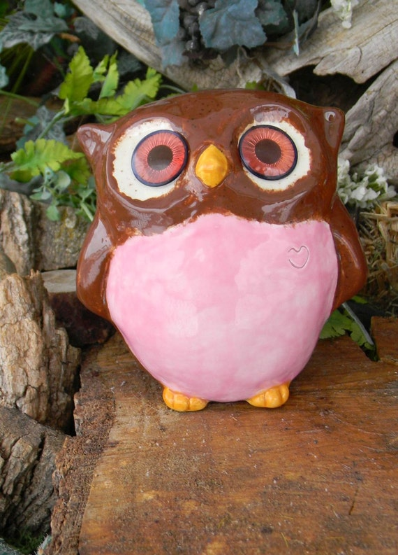 Modern Ceramic  Owl  Pink and Brown    Inspirational Hooter great for hospital visits - Harry Potter inspired
