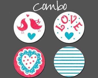 "108+ PRINTED 3/4"" Stickers ~ Love theme ~ 4 Design COMBO"