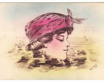 vintage postcard Artist Signed Cobb Shinn 1908 Pretty Woman floating Head