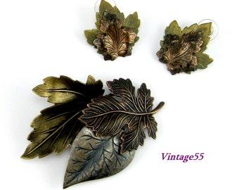 Brooch Set Rustic Leaves Earrings Pierced Post.
