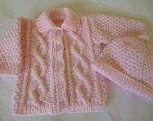 Knitted Newborn  Sweater and Hat Set. REDUCED PRICE.  Warm Baby Set.   Baby Girl  Sweater and Hat Set.  Antiallergic Yarn