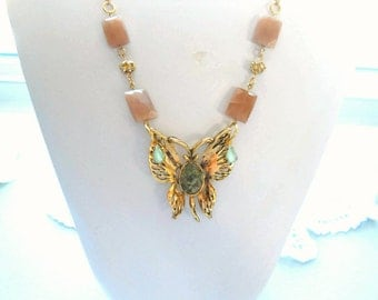 Repurposed, Vintage Gold tone Butterfly Brooch, Butterfly Necklace, Recycled,   Swarovski Rhinestone Spacer, Moonglow Drops