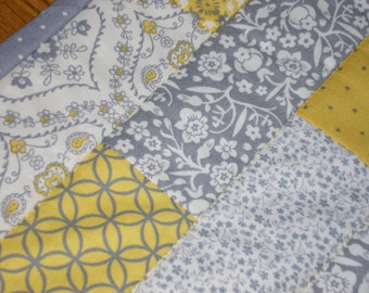 Quilted Table Runner, Stacked Bricks in Gray, Yellow and Off White   12 1/2 x 39  inches