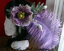 Lavender Poppy Hair Clip Fascinator - Wedding, Belly Dance, Renaissance Festival, Pin-Up, Burlesque