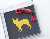 Gold Foil Mini Lucite Tray Dog Breed Many To Choose From Trinket Tray