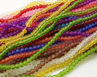 Beach Glass Beads - 5 strands - 4mm