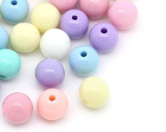 Pastel Bead Mix - 8mm - 60 beads - #PA104