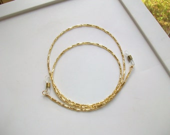 Twisted Gold Glass Beaded Eyeglass Chain - Adjustable Grips