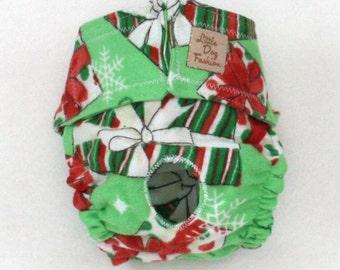Dog Diapers Christmas Gift on Green