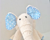 Cream and Blue Knitted Stuffed Elephant