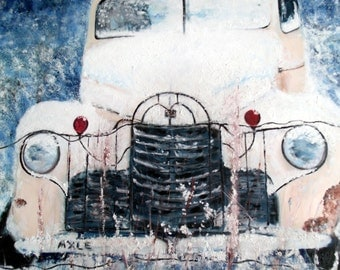 Art Old Truck Car Vintage Rusty large Painting Oil Truck Snow Classic