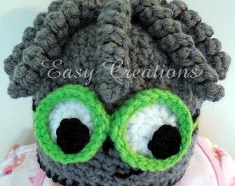 CROCHET PATTERN Spider Beanie hat toque curls boy boys girl girls baby babies face googly eyes 1 to 12 mo skill level intermediate