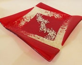 Squared Red and Vanilla Glass Plate - CUSTOM MADE ITEM