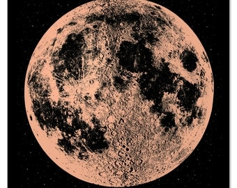 Copper Moon Print, Moon Art Print, Space Art, Wall Decor, Boho Decor, Full Moon, Boho Decor, Lunar Art, Wall Art, Copper Anniversary Gift