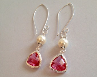 Pink Glass and Pearl Earrings - Faceted Glass on Silver-Filled (E-452)
