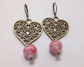 Filigree Heart Chandelier Earrings in Brass with Pink Glass (E-458)