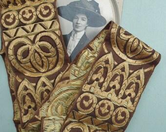 Antique Millinery Ribbon Hat Trim 1910s 1920s Vintage Cotton Braid Art Nouveau Influence Sandy Gold Yellow Beige Brown UNUSED Edwardian 20s