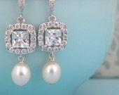 Silver Crystal CZ Square Freshwater Pearl Teardrop Bridal Earrings