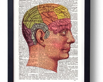 Original Art Print on A Vintage Dictionary Book Page Personality Traits / Head Map