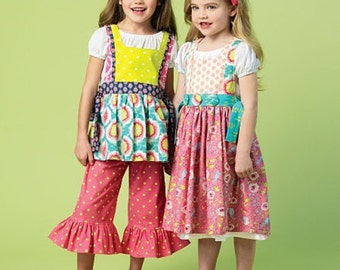 BOUTIQUE STYLE PATTERN / Make Girls Top - Dress - Pinafore Pants / Sizes 2 - 5 or 6 - 8