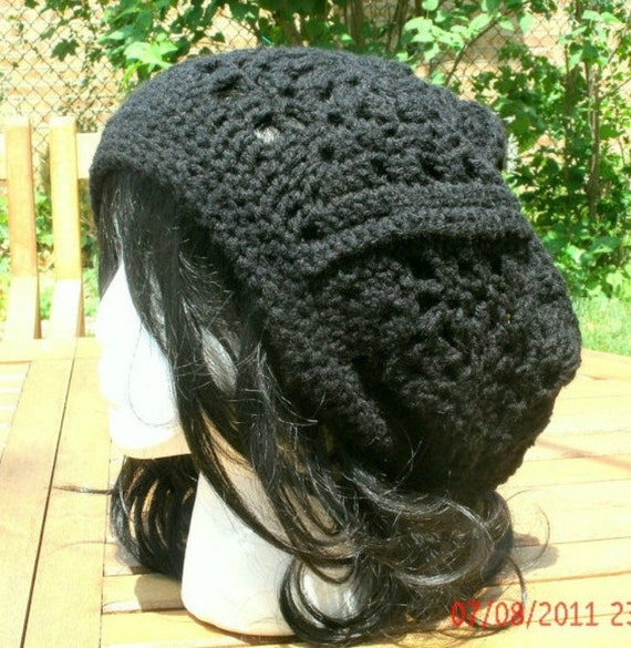 Crocheted Hat - The Granny Square Slouch Hat in Black - spring, fall, winter accessories - Womens Hat