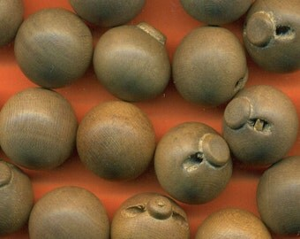 Vintage 10 Light Ash Brown Ball 15mm Finished Wood Buttons N6R