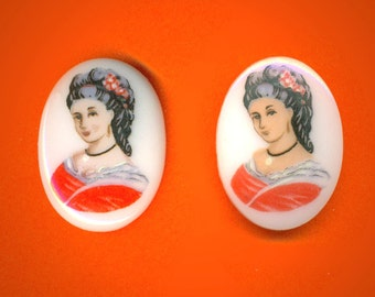 Vintage 2 Gorgeous Victorian Woman Printed On Glass 25x18mm Cameos FL9