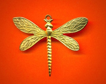 Vintage 2  Brass Detailed Large Dragonfly Charm 38.5 x 28.5 MM GL4