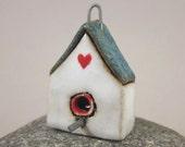 BirdHouse...Stoneware Pendant / Ornament