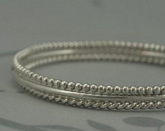 Silver Textured Bangles~Bracelet Stacking Set~Perfect Stacking Set of Three~925 Silver Bracelets~Silver Bangle Bracelets~Stacking Bangles