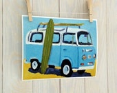 Surf art, beach nursery surf decor vw bus print 8x10 inch from original painting by Cathie Carlson