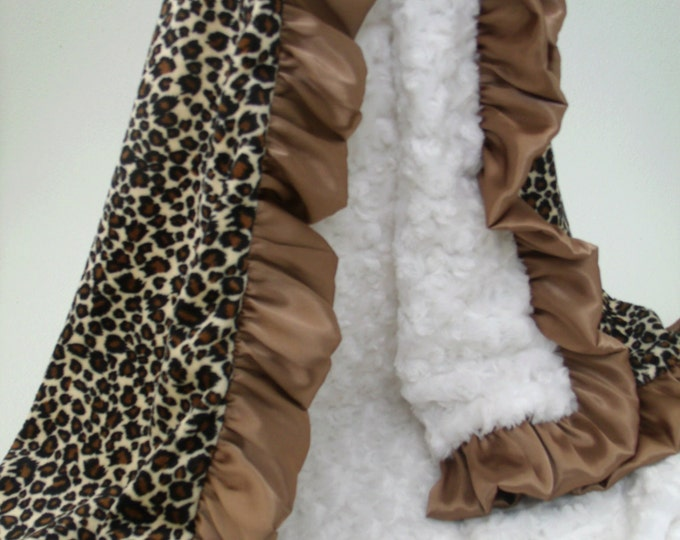 Minky Baby Blanket Leopard and Brown Ruffle with Cream, 3 SizesCan Be Personalized