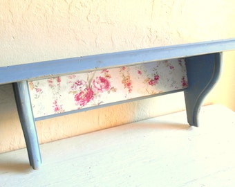 Shabby Chic Blue Painted Wood Wall Shelf with Floral - Ready to Hang