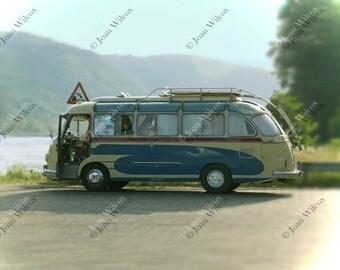 Vintage Retro German Antique Setra Bus Van by the Rhine River Germany Fine Art Photography Photo Print